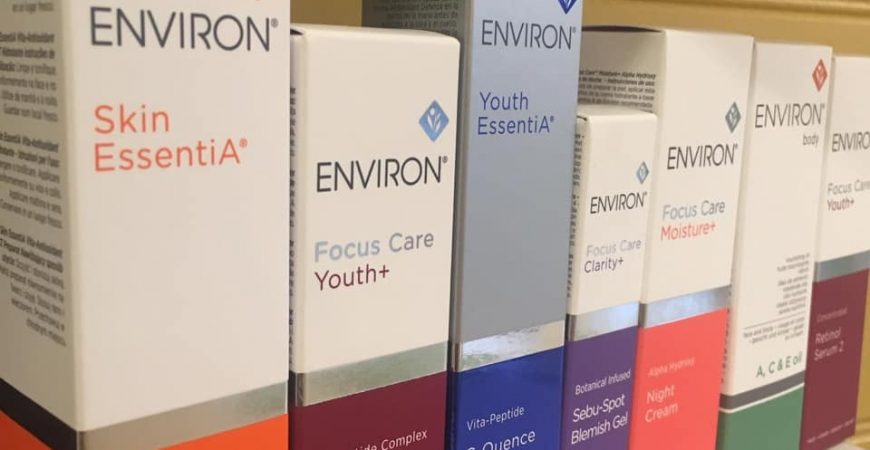 A shelf of Environ skin creams